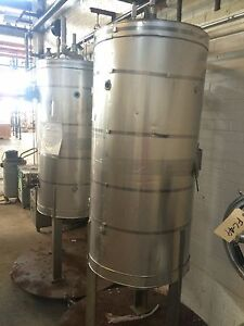 12450 005 Used Approximately 50 Gallon Vertical Stainless Steel Tank