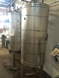 12450 006 Used Approximately 50 Gallon Vertical Stainless Steel Tank