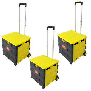 3 Folding Pack Roll Portable Cart For Tools Work School Or Grocery Black