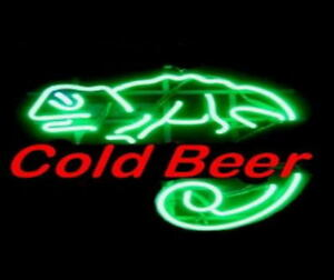 Cold Beer Lizzard Neon Bar Sign