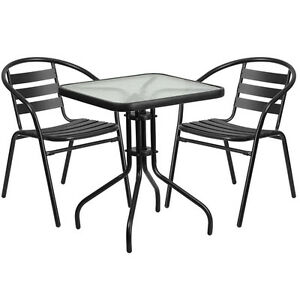 23 5 Square Glass Metal Table With 2 Black Metal Aluminum Slat Stack Chairs