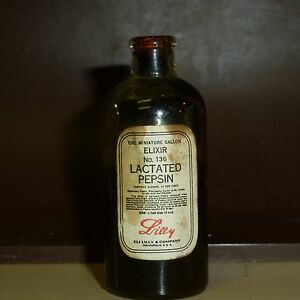 2 Tall Bottle With Original Cork Lactated Pepsin Elixer Eli Lilly