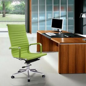 High Back Ribbed Pu Leather Office Chair Executive Computer Desk Modern Green