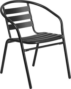 Lot Of 20 Black Metal Restaurant Stack Chair With Aluminum Slats