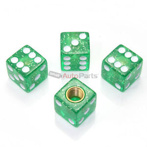 4 Green Gem Dice Tire Wheel Stem Air Valve Caps Set Car Truck Hot Rod Atv