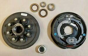Replace Left Trailer Brake Dexter 8x65 Drums 916 Nuts 7000 12 Backing Plate