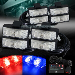 16 Led Red blue Deck Dash Grille Emergency Warn Flash Strobe Lights Universal 6