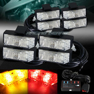 16 Led Amber red Deck Dash Grille Emergency Warn Flash Strobe Lights Universal 7