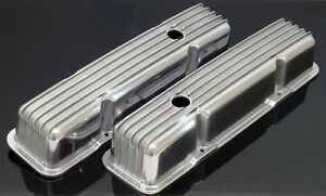 Sbc Chevy 350 383 Tall Retro Style Valve Covers Aluminum Finned 8501 8 Vc