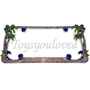 Palm Tree Ab Crystal Bling License Plate Frame Made With Swarovski Elements