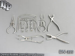 Dental Rubber Dam Clamps Forceps Punch Frame Set 22 Pieces Dn 359