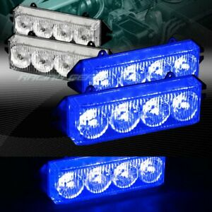 16 Led Blue Car Emergency Hazard Warning Grille Flash Strobe Light Universal 9
