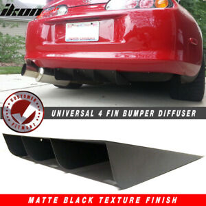 22 X21 Ikon Style Universal Rear Diffuser Canards 4 Fin Textured Matte Black