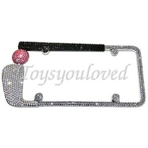 Golf Club Pink Crystal Bling License Plate Frame Made With Swarovski Elements