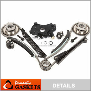 04 08 Ford Lincoln 5 4 3v Timing Chain Hp oil Pump Kit cam Phasers cover Gaskets