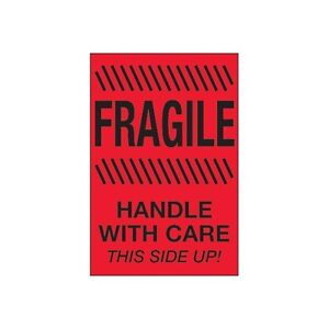tape Logic Labels fragile H le With Care This Side Up 4 x6 Fluorescent