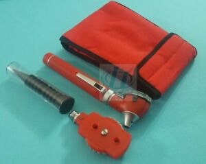 New Fiber Optic Otoscope Ophthalmoscope Examination Led Diagnostic Ent Set Red
