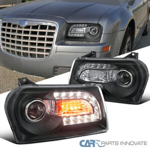 For 05 10 Chrysler 300 Black Projector Headlights Head Lamps W Led turn Signal