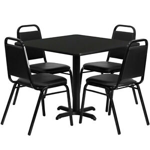 Lot Of 8 36 Square Black Laminate Tables And 40 Trapezoidal Back Banquet Chairs