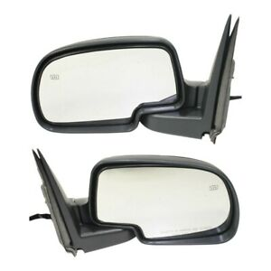 Side View Mirrors Power Heated Black Textured Lh Rh Pair Set For Chevy Gmc