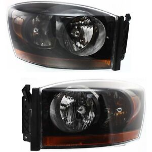 Headlight Set For 2006 Dodge Ram 1500 Left And Right Black Housing With Bulb 2pc