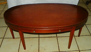 Mahogany Mid Century Oval Hepplewhite Coffee Table By Mersman Rp Ct40