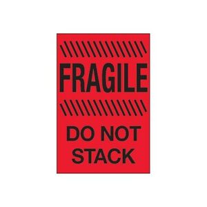 tape Logic Labels fragile Do Not Stack 4 X 6 Fluorescent Red 500