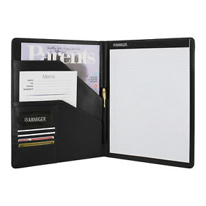 Armiger Executive Bonded Leather Professional Padfolio With Notepad Black
