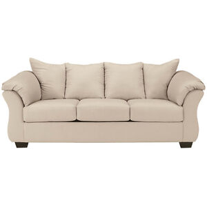 Ashley Design Darcy Upholstered Living Room Sofa Couch In Stone Fabric
