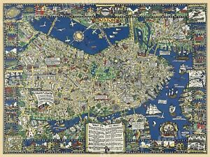 Boston Mass 1926 Vintage Style Pictorial Wall Map 24x32