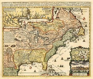 1700s Map Of New France Vintage Style Early United States Map 16x20