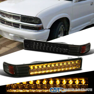 98 04 Chevy S10 Blazer Sonoma Pickup Smoke Led Bumper Signal Parking Lights Pair