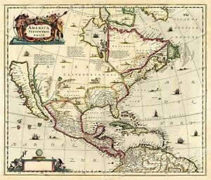 1636 North American Historic Vintage Style Explorers Wall Map 16x20