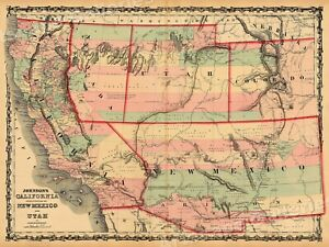 Map Of California New Mexico Utah 1861 Vintage Style Territorial Map 18x24