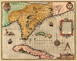 Florida And Cuba Caribbean 1591 Vintage Style Early Historic Map 16x20