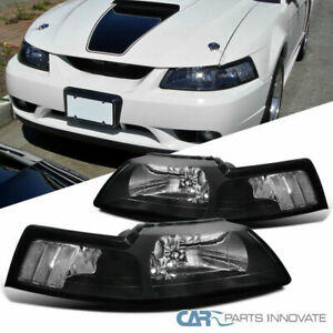 99 04 Ford Mustang Cobra Euro Black Housing Clear Lens Headlights Lamps Pair