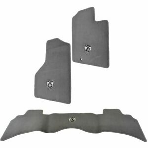 Oem Carpeted Floor Mats Embroidered Rams Head Gray Front Rear For Ram Pickup