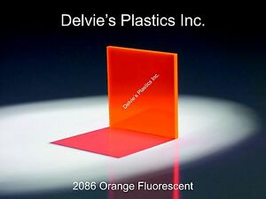 5 Sheets 1 8 2086 Fluorescent Orange Cell Cast Acrylic Sheet 12 X 24