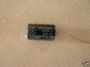 Mallory Capacitor 350 Volt 22uf Axial Electrolytic X100