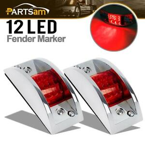 2 Chrome Armored Clearance Running Lights Red 12 Led For Truck Trailer Rails