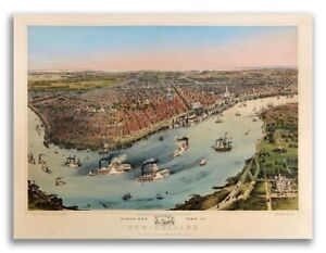 1851 New Orleans Lousiana Vintage Old Panoramic City Map 20x28