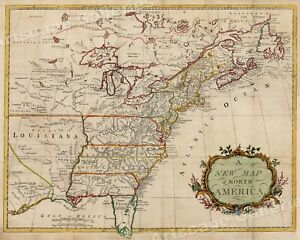 A New Map Of North America 1760s Vintage Style Early Us Map 20x24