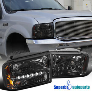 For 1999 2004 Ford F250 F350 2000 2004 Excursion 1pc Smoke Led Drl Headlights