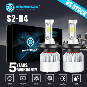 2pcs Cree H4 9003 Hb2 Led Headlight Hi Lo Bulbs 1700w 255000lm White 6000k Light