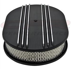 Aluminum 12 Oval Air Cleaner Paper Filter Polished Partial Finned Black