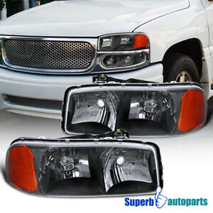 For 2000 2006 Gmc Sierra Yukon Denali Xl Slt Black Headlights Head Corner Lamps