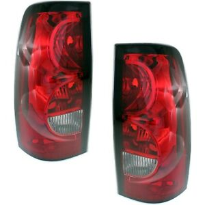 Halogen Tail Light Set For 2004 2006 Chevy Silverado 1500 Clear red Lens 2pcs