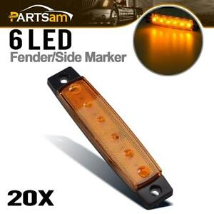 20x 3 8 Amber 6led Side Marker Indicators Light Truck Trailer Boat Clearance