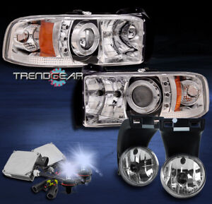 1994 2001 Dodge Ram Halo Led Chrome Projector Headlight Fog Lamp 8k Hid Kit 2500