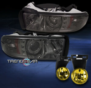 1994 2001 Dodge Ram Halo Led Smoke Projector Headlight W Yellow Driving Fog 2500